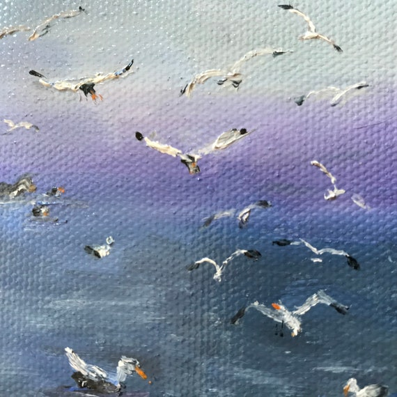 Bird Painting, Miniature, Sea Gulls, Tiny Painting, Painting with Easel, Anniversary gift,  Small Art