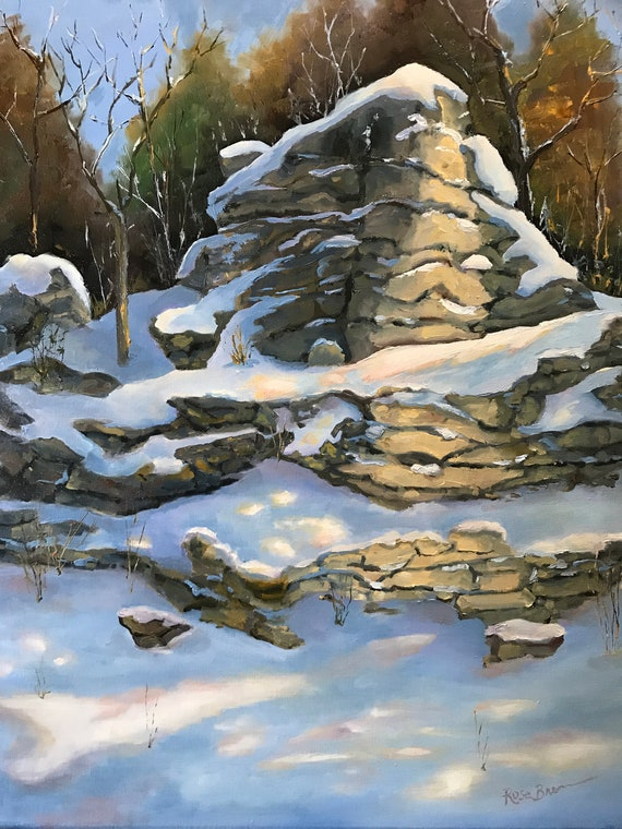 Rock painting, snow painting, Limestone painting, Landscape painting,