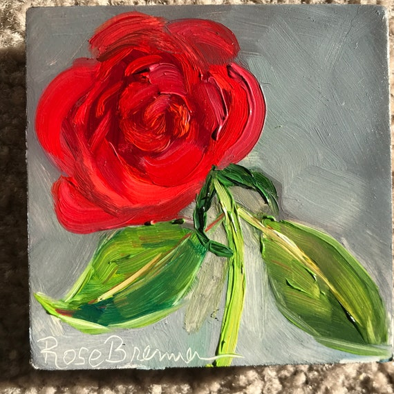 Rose painting, Flower Art, red rose, Miniatures, Summer flowers, Small Art, Tiny painting