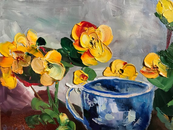 Yellow Pansies Flower Painting, Flower Art, Small Art, Tiny painting