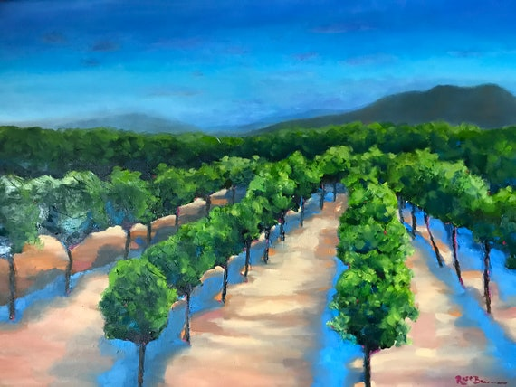 Vineyard Painting, Extra Large Painting, Winery Painting, Sun and Shadows, sunset painting