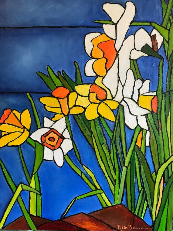 Daffodils painting, XL Landscape Painting, spring flowers,  stained glass, large canvas painting,