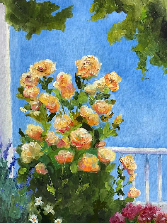 Rose Painting, Flower Art, Summer Floral Painting, Impressionist Flowers