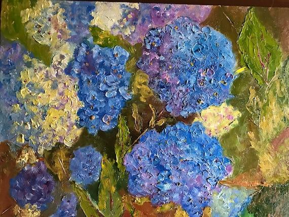 Blue flower art, Blue Hydrangas, Oil Painting, Plein Air Landscape, Monet's Garden