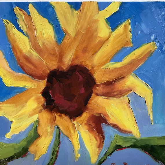 Sunflower Painting, Small Oil Painting, Tiny Still Life, Flower art,  Bright Yellow