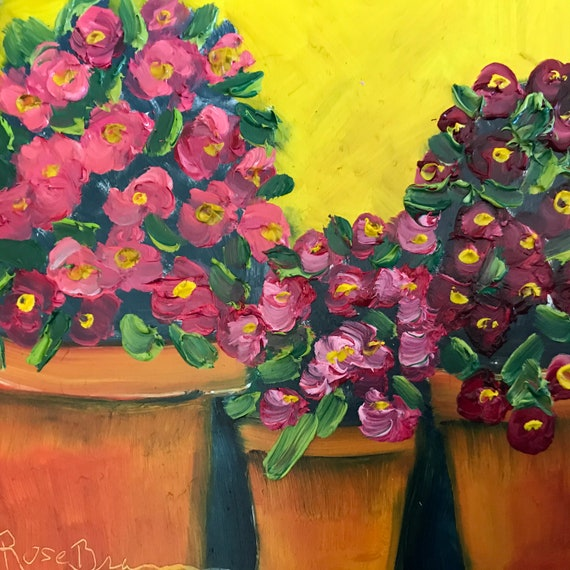 Flower painting, deck flowers, flower pots, Flower Art, Miniatures, Spring flowers, Small Art, Tiny painting