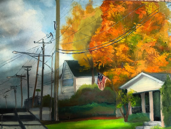 Small town cityscape, Bedford Indiana, Cityscape painting, city scene, street scene, fall painting, Americana art