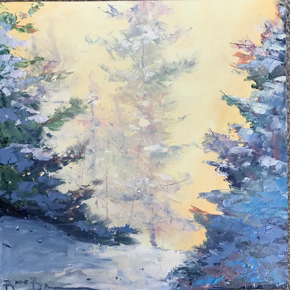 Woods, Evergreen trees, Mini Painting, Landscape Painting, Mini Masterpiece, Small Art