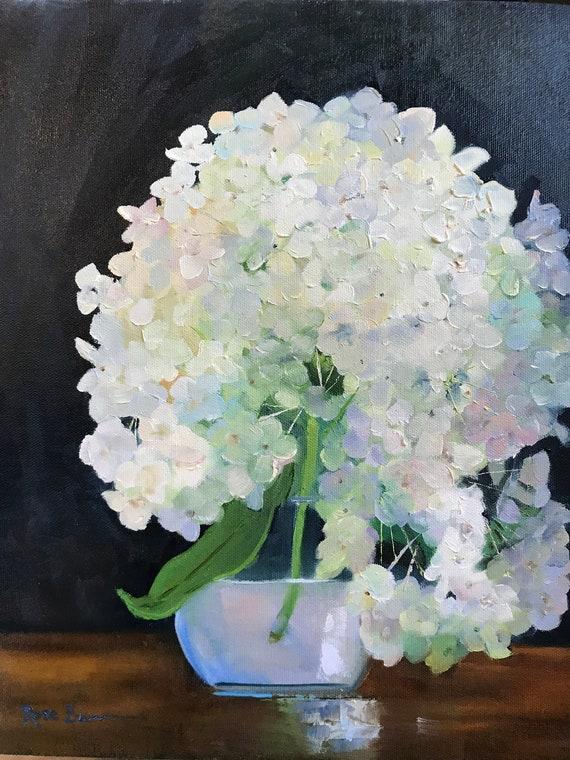 Hydrangea painting, white flower, flower painting, summer flowers