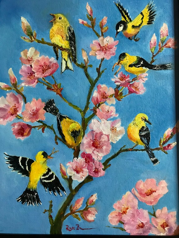 Bird Painting, Yellow Finch, Spring Art, Apple Tree Painting,