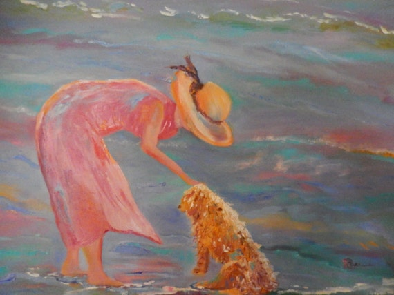 Dog Painting, Dog Art, Beach Painting, Dog at the Beach, Water Painting