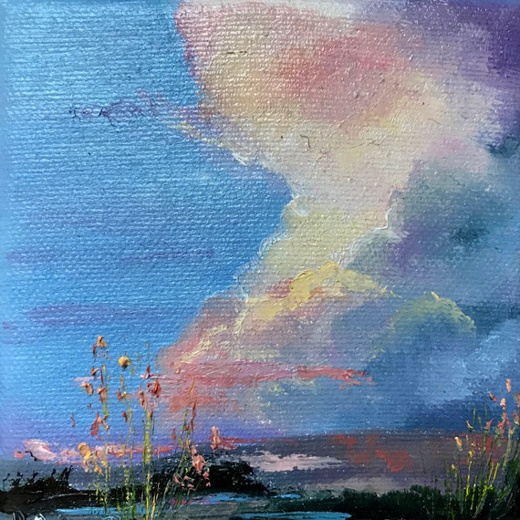 Miniature Landscape Painting, Sunrise , Small Art
