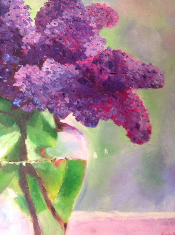 Lilac, Oil Painting, Purple Lilacs, Large Painting, Spring Flowers, Monet's Garden, Purple Flower Art