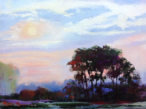Bright Sunny Day Painting, Landscape Painting, Rustic Country Painting