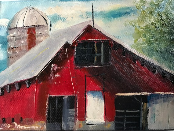Red Barn Painting, Small Oil Painting,  Bright Red, Country Rustic Art
