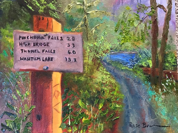 Hiking painting, hiking trail, Eagle Creek, Oregon, Oil Painting, Landscape painting