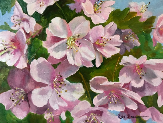 Flower painting, pink flowers, apple blossoms, spring flowers, flower art, canvas painting