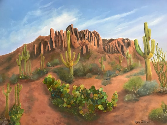 Desert Painting, Superstition Mountains, Arizona painting, XL Painting, large canvas painting