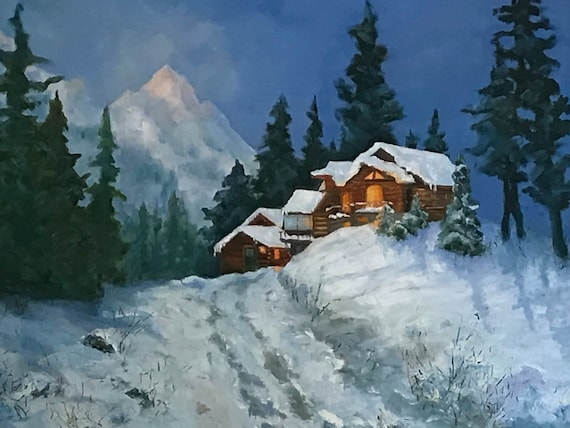 Night Snow Painting, XL Painting, winter mountain decor, snow scenery, evergreens