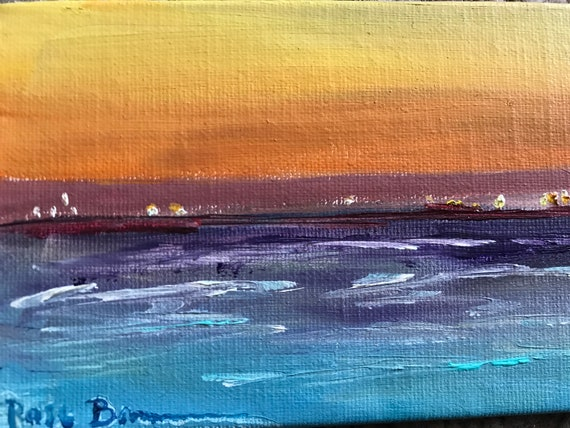 Sunset Painting, ocean painting, Mini Painting with Easel, Tiny Art, Landscape Painting, Miniatures