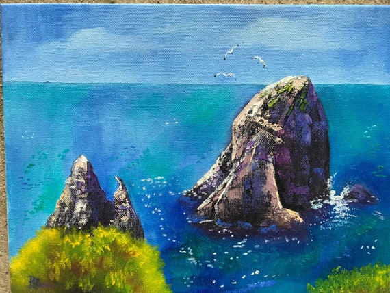 Capri Ocean Painting, Landscape Painting, Oil Painting, Beach Painting,  Capri, Vacation Art