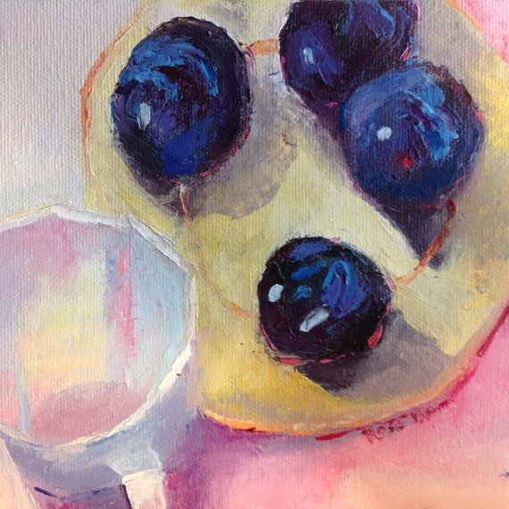 Purple Plums, Fruit Art, Small Art, Kitchen Painting, Purple Art, Tiny Still Life