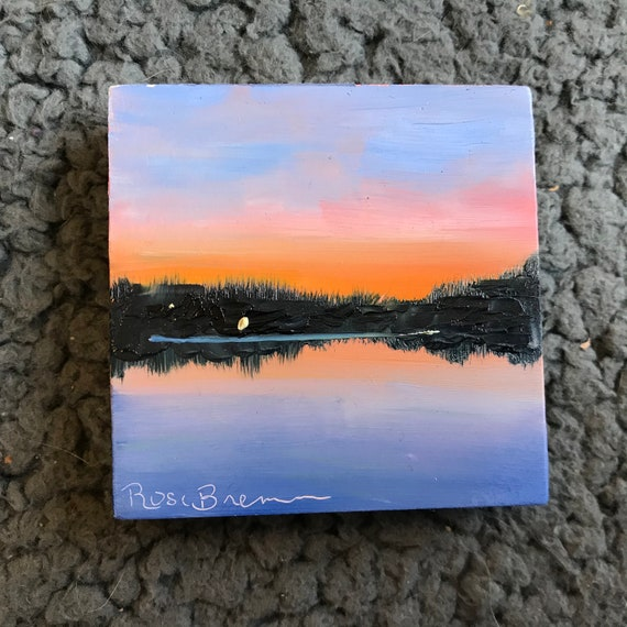 Sunset Painting, Miniatures, lake painting, Small Art, Tiny painting