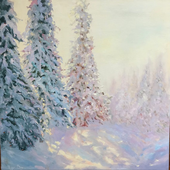 Sunshine painting, Sunrise Painting, XL Landscape Painting, Evergreen Trees Art, Winter Painting