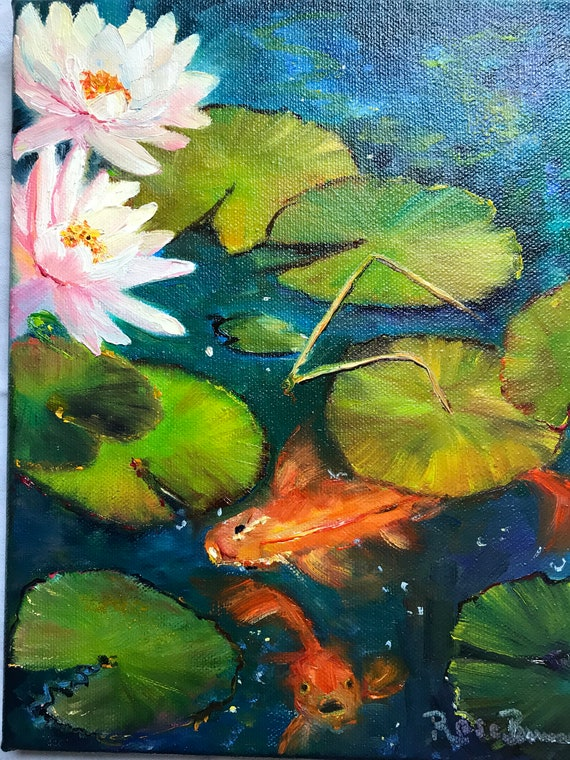Fish Painting, Lily Pond Painting, Monet style art, Water Lilies