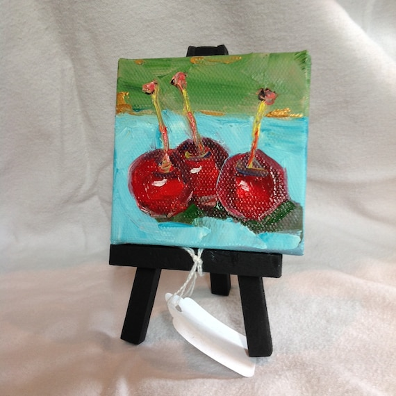 Miniatures, Cherry Painting with Easel, Still Life, Cherries, Small Art