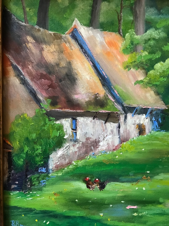 Farm Painting, Country Cottage, Hen Chicken Painting, French cottages, Farm Buildings