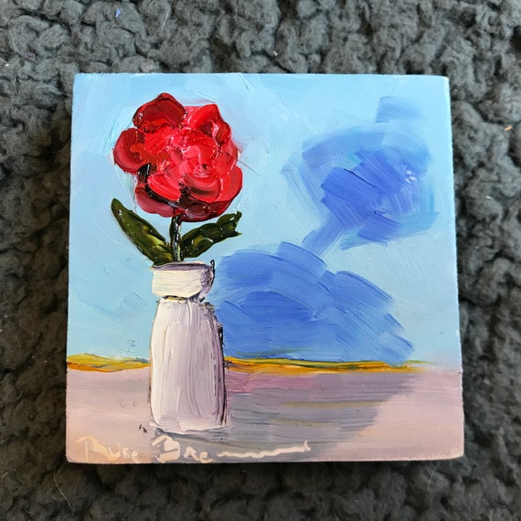 Miniature, Red Rose Painting, Anniversary gift,  Small Art