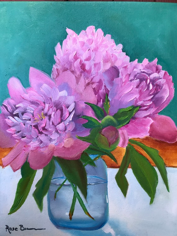 Flower Painting, Still Life, pink peonies, Bedroom Decor, Living Room Art