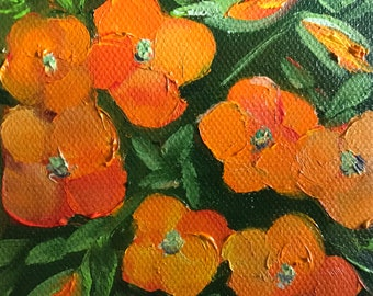 Orange flowers, pansies, canvas painting, Flower Art, Miniatures, Spring flowers, Small Art, Tiny painting