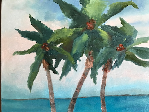 palm trees, Jamaica, Landscape Painting, Vacation Painting, Tropical painting