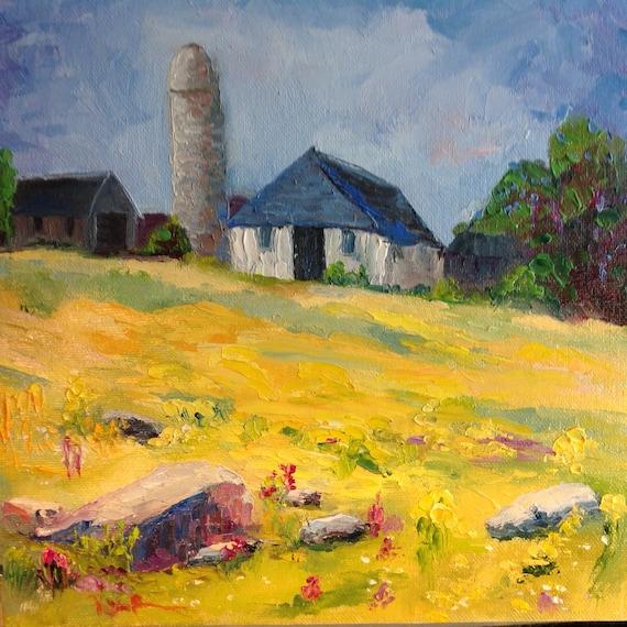 Yellow field, Rural Painting, Barn Painting, Wildflowers, rural scene