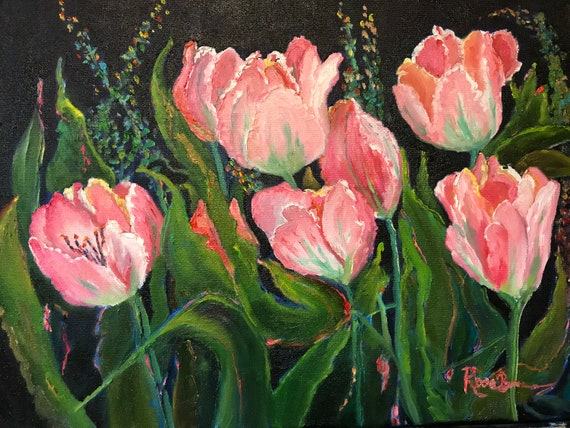 Tulips, Pink Flower Painting, Spring Painting, Large flower Painting, Pink Tulips