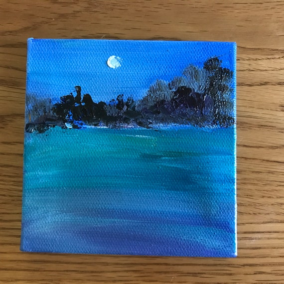 Moonlight Painting with Easel, Summer Art, Lake Art, Landscape Painting, Miniatures