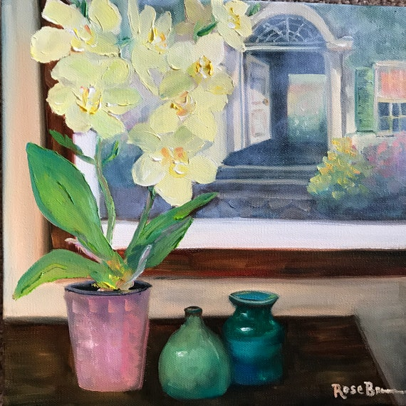 Flower Painting, Still Life, orchids, yellow orchids, Bedroom Decor, Living Room Art