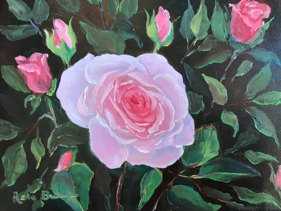 Rose painting, Flower Painting, Still Life, Bedroom Decor, Living Room Art, pink rose art