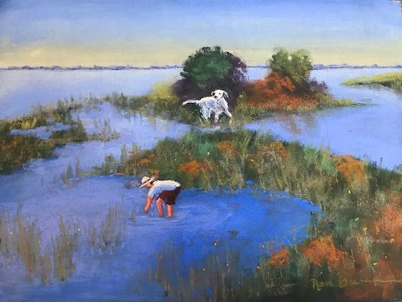 Marsh painting, frogs, boy and dog painting, deep blue
