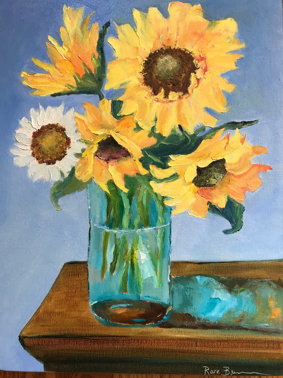 Sunflowers, Yellow Summer Flower Painting, Birthday Present, Oil Painting