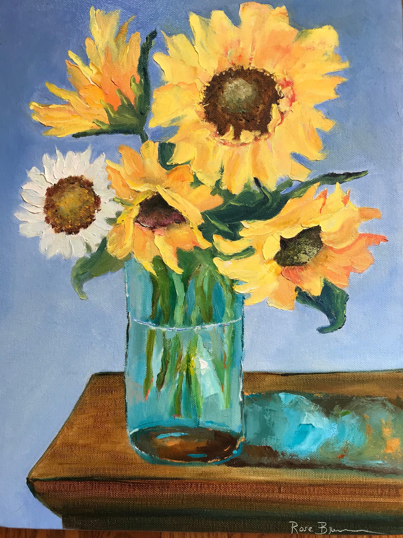 Sunflowers Yellow Summer Flower Painting Birthday Present Oil