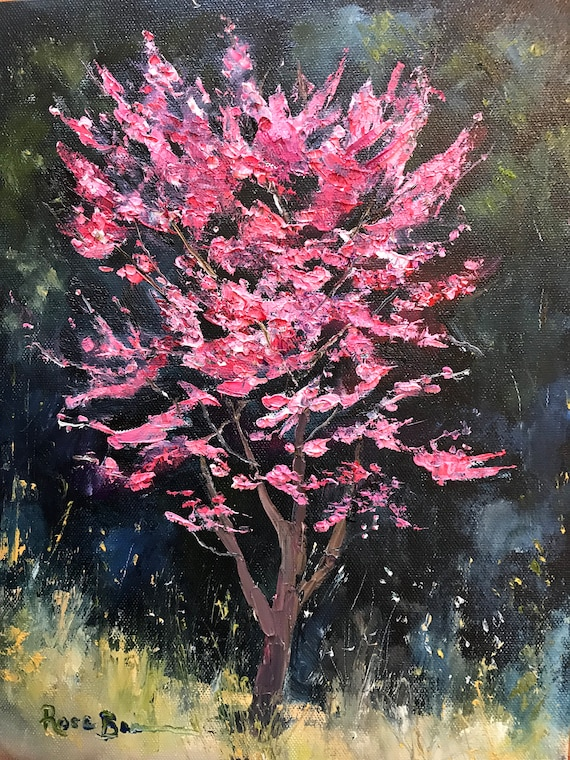 Spring Landscape, Plein Air Painting, Landscape Painting, Redbud Tree, Bedroom Decor