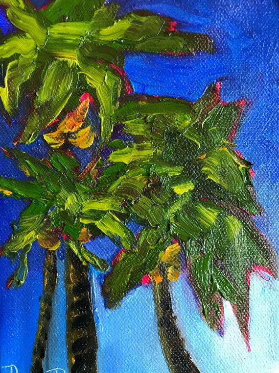Palm tree Painting, Jamaica palms, canvas art, Original painting, small palm tree painting, tropical painting