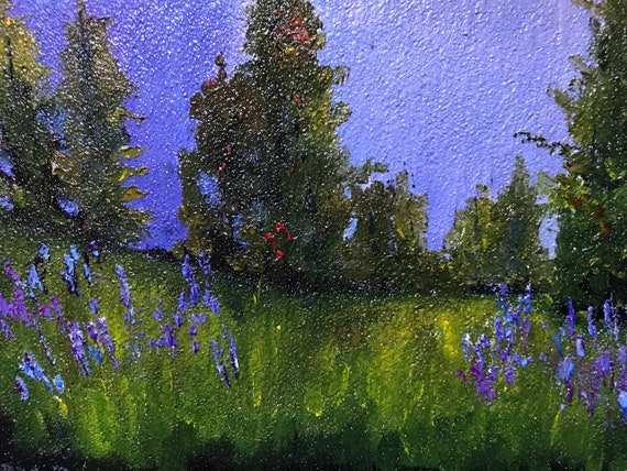 Purple Lavender Field, Purple Decor, small oil painting, rustic country art