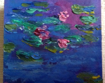 Miniatures, Monet Lily Pond, Small Art, Tiny painting