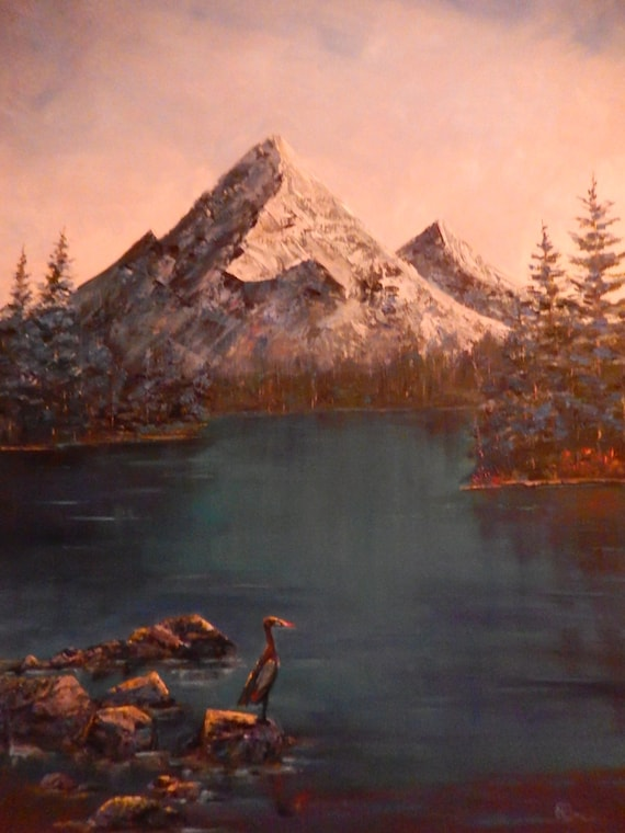 Winter Scene, Extra Large Painting, Bird Art, Mountain, Teal Blue