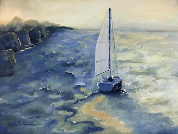 Ocean painting, lake Painting, boat painting, sailboat, marina, canvas painting