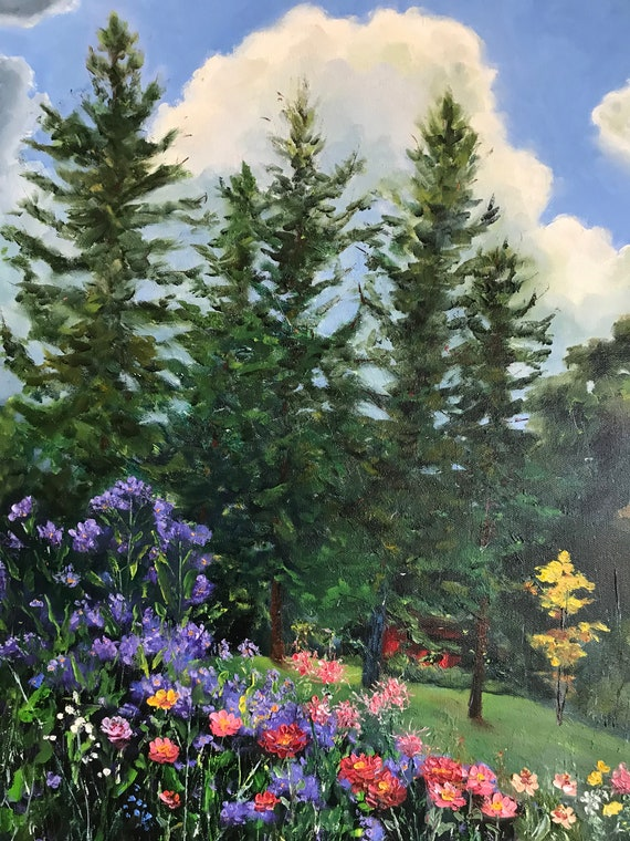 Flower painting, Indiana landscape painting,  Landscape Painting, flower garden, T. C. Steele